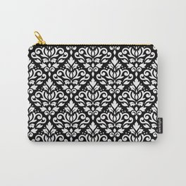 Scroll Damask Pattern White on Black Carry-All Pouch