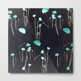 HOPE: Light Blue Flower Pattern Metal Print