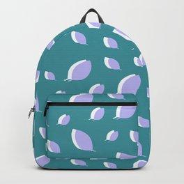 Gray white leaves pattern on dark cyan Backpack