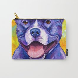 Peppy Pitbull Terrier Colorful Dog Carry-All Pouch