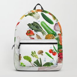 Healthy Food with water splash on white background Backpack