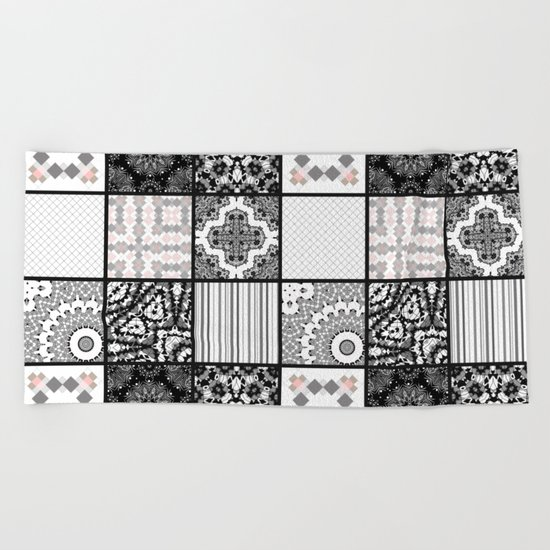 Patchwork . Squares of black, gray Patterns . Beach Towel
