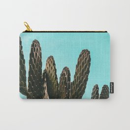 Cactus Photography Print {1 of 3} | Teal Succulent Plant Nature Western Desert Plants  Design Decor Carry-All Pouch