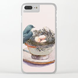 Bird nest in a teacup Clear iPhone Case