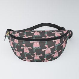 Addicted To Paris  Parisian Vintage Cabaret   Blush and Mint Watercolor   Dark Background Fanny Pack