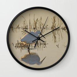 Little Egret at Dusk Wall Clock
