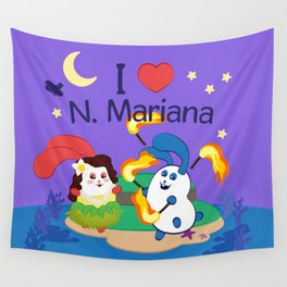 Ernest & Coraline | I love Northern Mariana Islands Wall Tapestry
