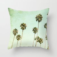 palm trees Throw Pillows featuring palm trees by Mareike Böhmer