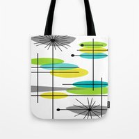 mid century modern Tote Bags featuring Mid-Century Modern Atomic Design by Kippygirl