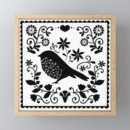 Woodland Folk Black And White Blue Bird Tile Framed Mini Art Print