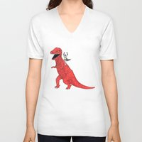 dinosaur V-neck T-shirts featuring Dinosaur B Forever by Isaboa