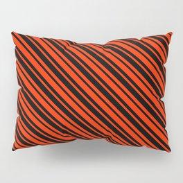 Bright Red and Black Diagonal LTR Var Size Stripes Pillow Sham