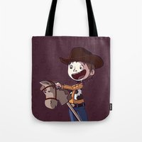 toy story Tote Bags featuring Woody Toy Story by Kaori