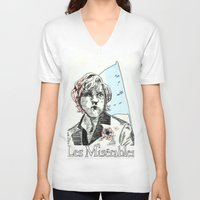 enjolras V-neck T-shirts featuring Enjolras Les Mis Poster by Pruoviare