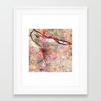 portland Framed Art Prints featuring Portland by MapMapMaps.Watercolors