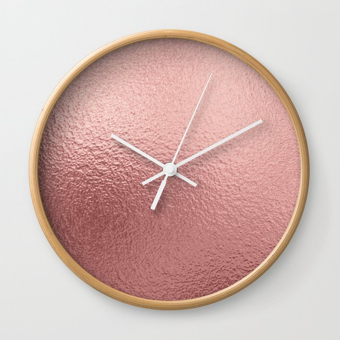 Pure Rose Gold Metal Pink Wall Clock By Betterhome Society6