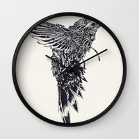 plain Wall Clocks featuring HummingBird Plain by efan