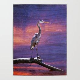 Mystical Heron Poster