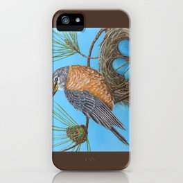 Robin with nest in Georgia pine tree iPhone Case