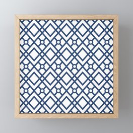 Modern Geometric Diamonds and Circles Pattern Navy Blue and White Framed Mini Art Print