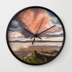 Sunrise over the lake Wall Clock