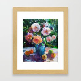 Roses and Fruits Framed Art Print