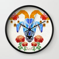 chinese Wall Clocks featuring chinese goat by Manoou