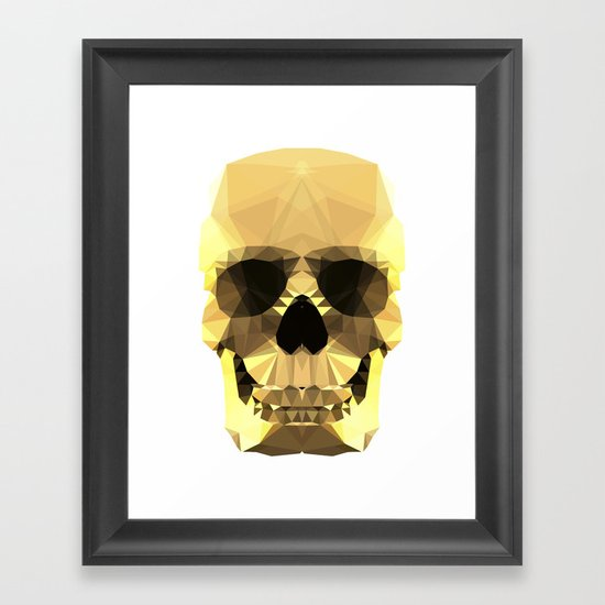 Polygon Heroes - Gold Skull Framed Art Print
