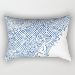 Barcelona Blueprint Watercolor City Map Rectangular Pillow