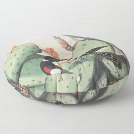 Woodpeckers And Cacti Floor Pillow
