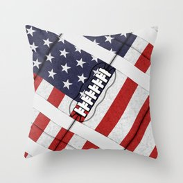 4th of July American Football Fanatic Throw Pillow