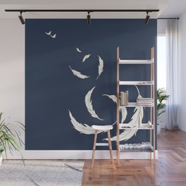 Come fly with me navy illustration Wall Mural
