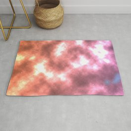 Bright Rose Gold Space Galaxy Milky Way Rug