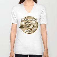 plane V-neck T-shirts featuring Plane Crazy by Szoki