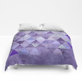 Glamorous Purple Faux Glitter And Foil Triangles Comforters