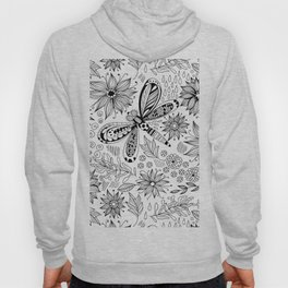 Dragonfly and flowers doodle Hoody