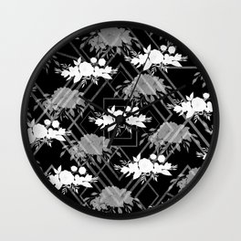Geometrical modern black white floral pattern Wall Clock