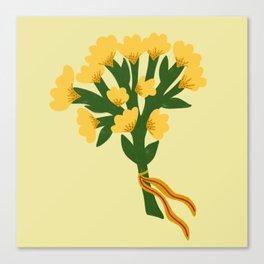Golden Sunny Marigold Flowers Canvas Print