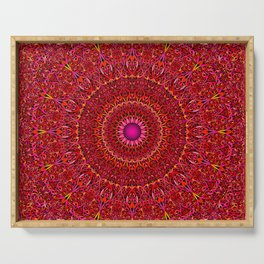 Red Jungle Mandala Serving Tray