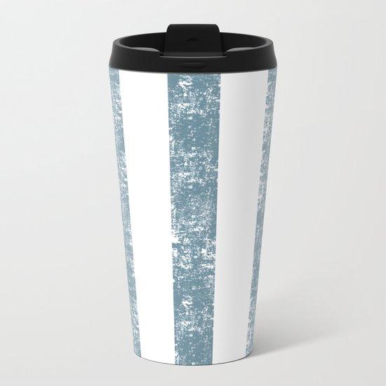 Maritime Navy Beach Pattern- Blue and White Stripes- Vertical - Metal Travel Mug