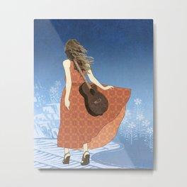 Guitar Girl Metal Print