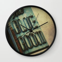 Blue Room Neon Sign Wall Clock