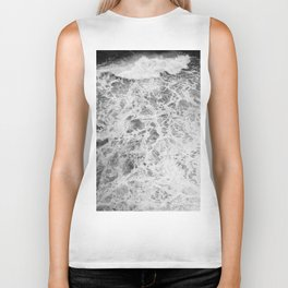 The Waves (Black and White) Biker Tank