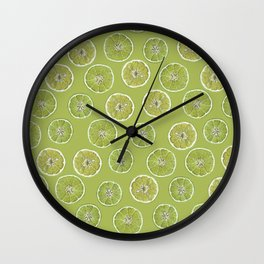 Lime Oranges Pattern Wall Clock