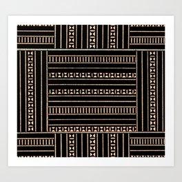 Vintage Black and Tan Pattern Art Print
