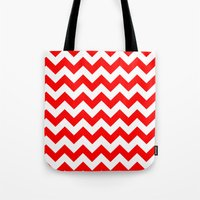 chevron Tote Bags featuring Chevron (Red/White) by 10813 Apparel