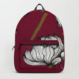 Love for Florals   Flower Illustration   Vintage Summer Magnolia Flowers Line Art Backpack