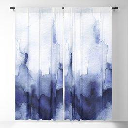 Moody Indigo Abstract Watercolor Blackout Curtain