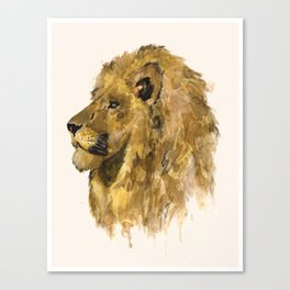 Respect: portrait of a lion, handmade watercolor and tea-stained painting. Canvas Print