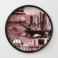 travel poster Wall Clocks featuring Melbourne Travel Poster Illustration by ClaireIllustrations